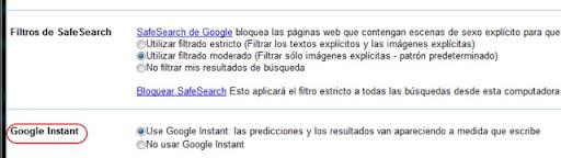 activar o desactivar Google Instant