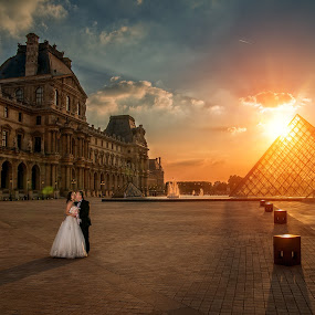 When in Paris by Marius Igas - Wedding Bride & Groom ( paris, wedding photography, louvre, sunset, couple )