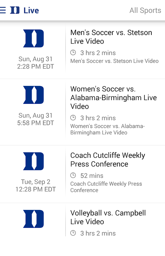 Duke Blue Devils- screenshot