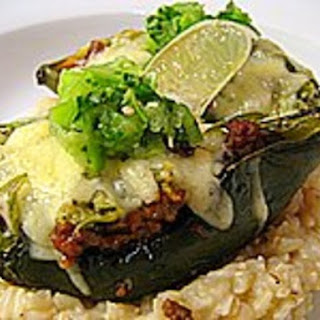 Stuffed Poblanos with Tomatillo Salsa