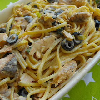 Linguini Carbonara with Salmon.