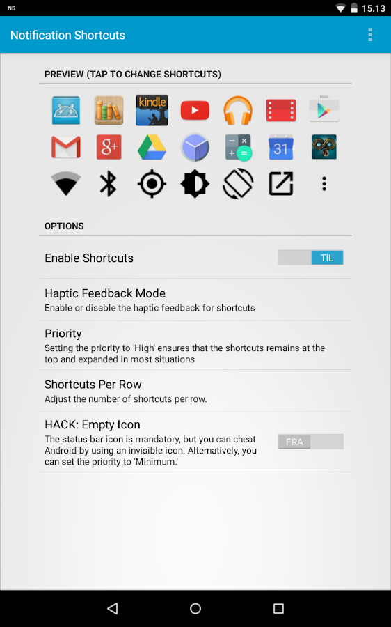 Notification Shortcuts- screenshot