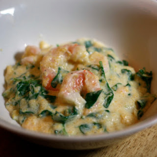 Shrimp and Grits with Arugula