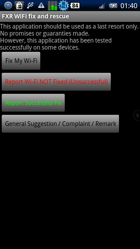 FXR WiFi fix and rescue - screenshot