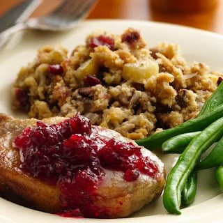 Slow-Cooker Pork Chops with Cranberry-Cornbread Stuffing.