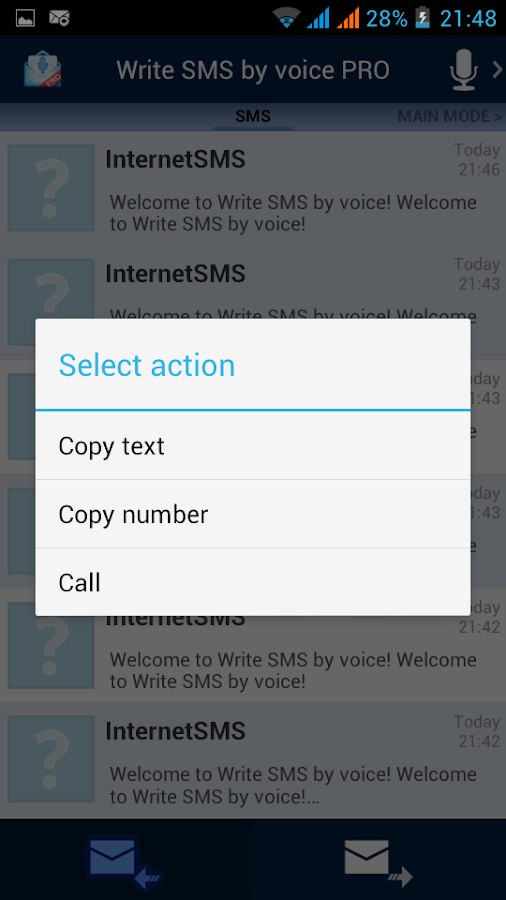 Write SMS by voice- screenshot