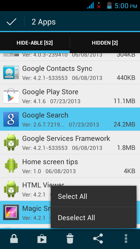 how to hide apps in google drive