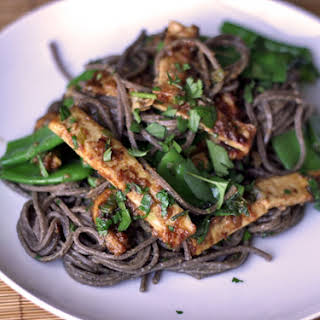 Almond Tofu with Buckwheat Noodles and Snow Peas.