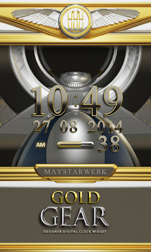 Digi Clock Widget Gold Gear