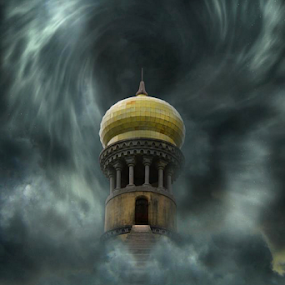 Mystic Tower by Ricardo Marques - Illustration Buildings ( vortex, clouds, tower, stairs, sintra, palace )