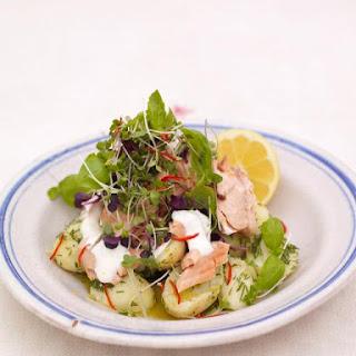 Warm salmon & Jersey Royal salad.