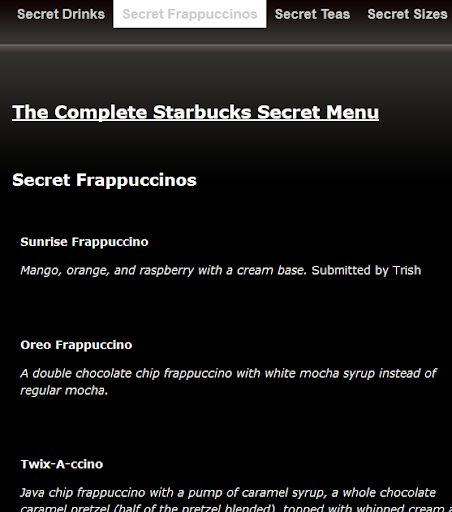 Complete Starbucks Secret Menu