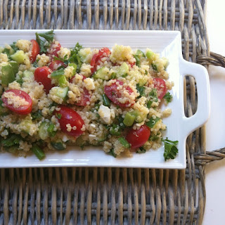 Tomato Cucumber and Feta Quinoa Salad.