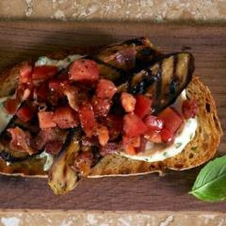 Grilled Eggplant, Bacon & Tomato Sandwiches With Basil Mayonnaise.