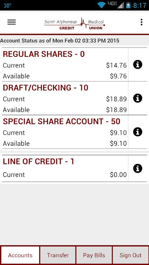 SAMCU Mobile Banking - screenshot