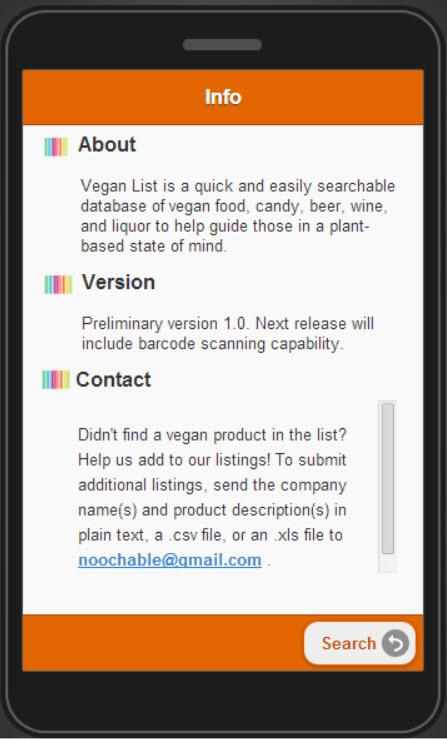 Vegan List - screenshot