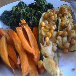 Courgettes with Chickpea and Mushroom Stuffing.