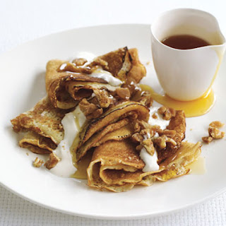 Crepes with Maple-Walnut Praline and Crème Fraîche.