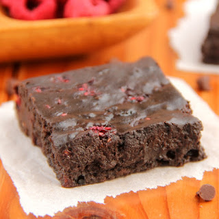 Fudgy Dark Chocolate Raspberry Brownies