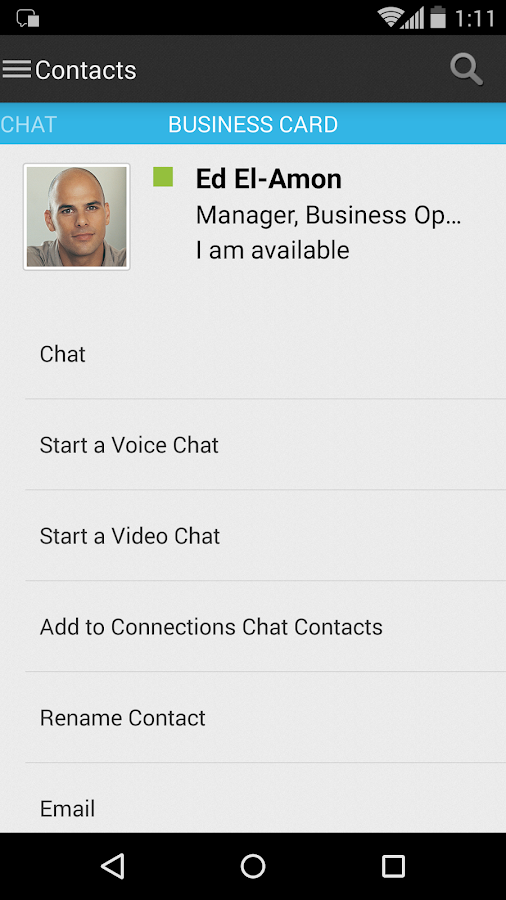 IBM Connections Chat - screenshot