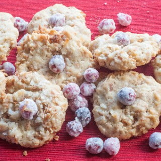 Toasted Coconut Cookies with Sugared Fresh Cranberries