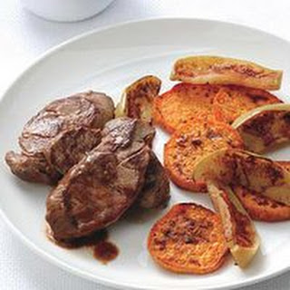 Pork Scallops with Apples and Sweet Potatoes.
