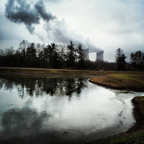Smoke stacks of Limerick, PA by Dianne Collins - Instagram & Mobile Android ( reflection, nuclear, trees, pennsylvania, lake, smoke )