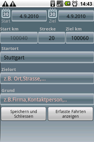 Fahrtenbuch For Android - screenshot