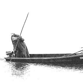 Fishing in the river by Vasco Morais - Black & White Objects & Still Life