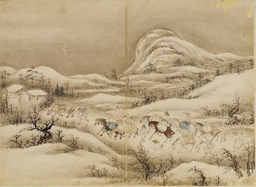 Proceeding on a snowy Road toward a Marketplace