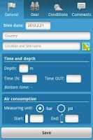Screenshot of My Diving log