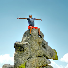 Top of the world by Dawnadine Yazzie-Harvey - People Portraits of Women ( fit, sky, nature, lady, healthy, rock, earth )