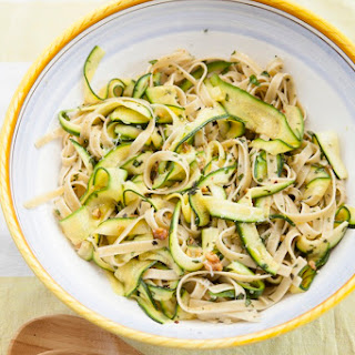 Fettuccine with Zucchini ribbons and walnuts.