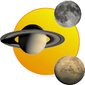 Sun, moon and planets logo