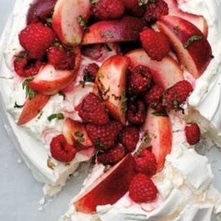 Raspberry And Peach Pavlova.
