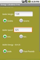 Screenshot of Bullet Energy Calculator Free