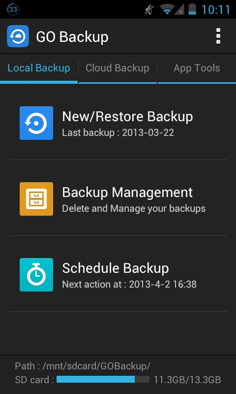 GO Backup & Restore Pro - screenshot
