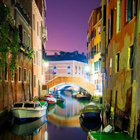 Venice by Night by Michael Shaffer - Buildings & Architecture Public & Historical ( venezia, serene, michael, michael shaffer, boats, venice, shaffer, night,  )