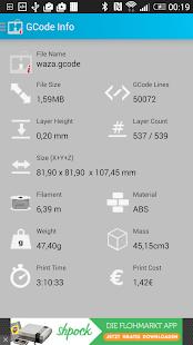 GCodeInfo - 3D Print Analyzer - náhled