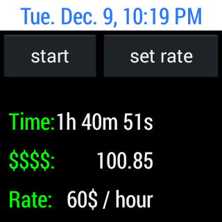 Punch clock hourly rate timer