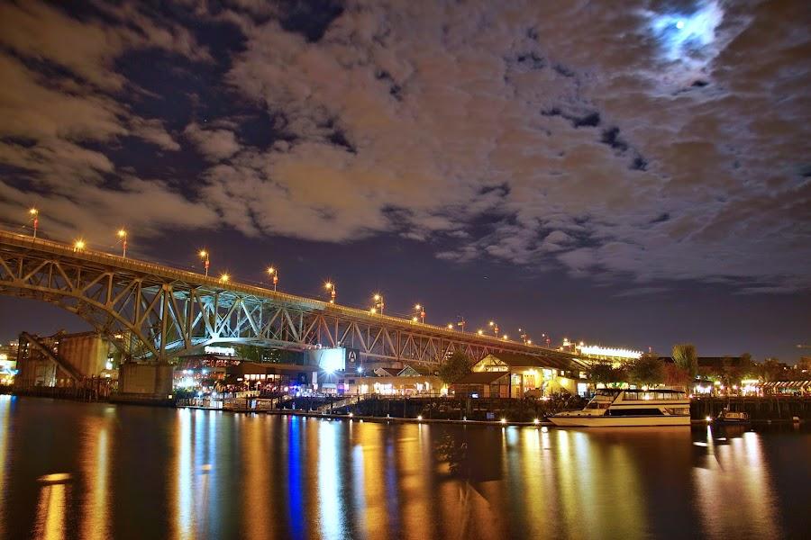 Granville Bridge, Vancouver BC by D. Bruce Gammie - City,  Street & Park  Night ( granville island, bridge, vancouver, granville bridge, granville street )
