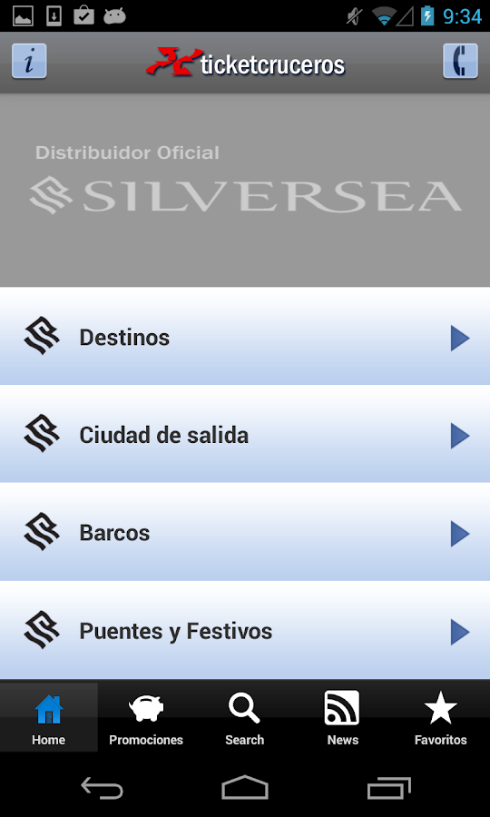 Ticketsilversea - Cruceros: captura de pantalla