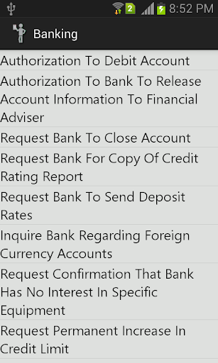 Official Letters for Banking