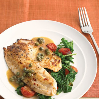 Tilapia with Arugula, Capers, and Tomatoes.