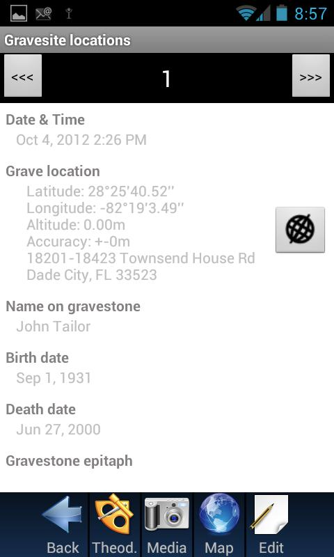 Grave site location - screenshot