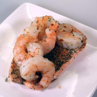 Baked Salmon with Tiger Prawns, Dill and White Wine