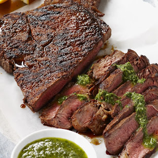Spice Rubbed Rump Steak with Herb and Mustard Sauce.