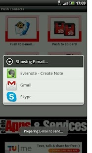 Push Contacts to E-mail - screenshot thumbnail