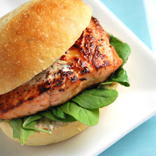 Agave Salmon Burgers with Chipotle Mayonnaise.