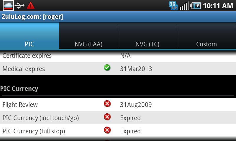ZuluLog Pilot Logbook- screenshot